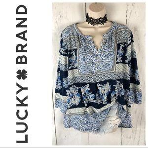 Lucky brand blue boho blouse